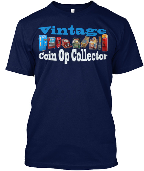 Vintage Coin Op Collector Navy T-Shirt Front