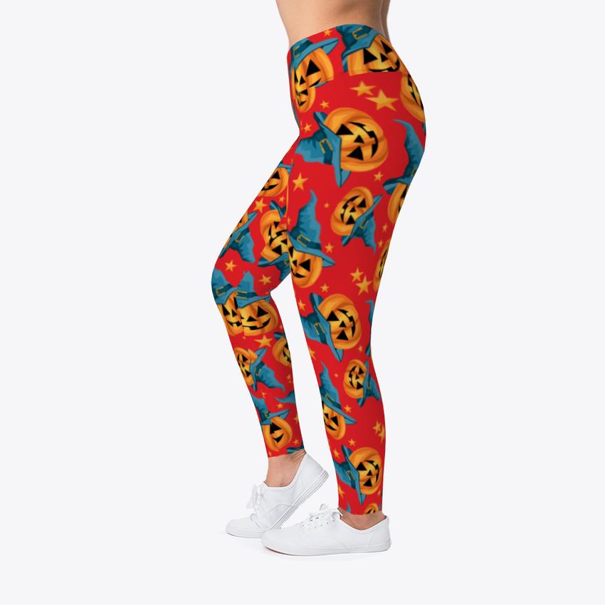 2ce68655a97b7 Pumpkin Witch Halloween Women's Print Fitness Stretch *Leggings ...