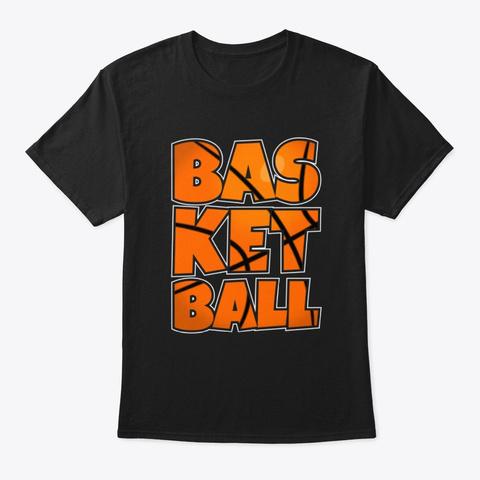Basketball Theme Cool Basketball Tee Black T-Shirt Front