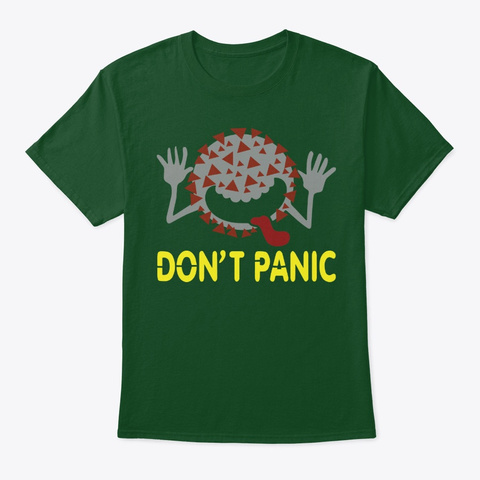 Covid 19 Don't Panic Molecule Deep Forest T-Shirt Front