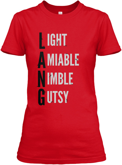 L Ight A Miable N Imble G Utsy Red Women's T-Shirt Front