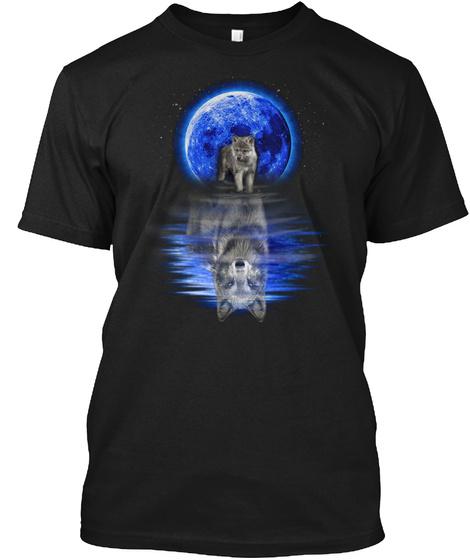 Vikings Blue Moon Reflect Wolf T Shirt Black T-Shirt Front