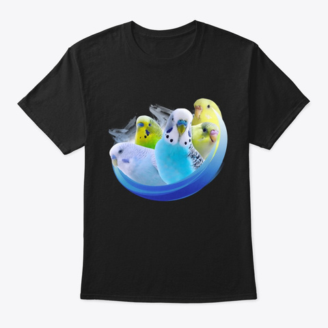 Budgie Flock Is Awesome! Black T-Shirt Front