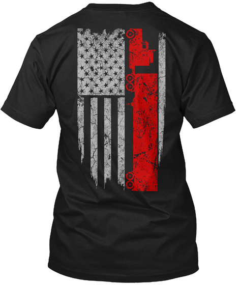 Trucker   Usa Flag Black T-Shirt Back