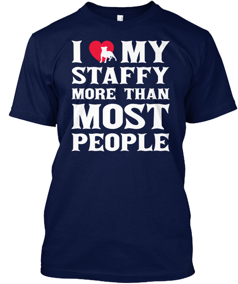 Staffy Navy T-Shirt Front