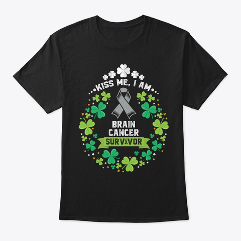 St. Patrick's Day | Brain Cancer Black T-Shirt Front