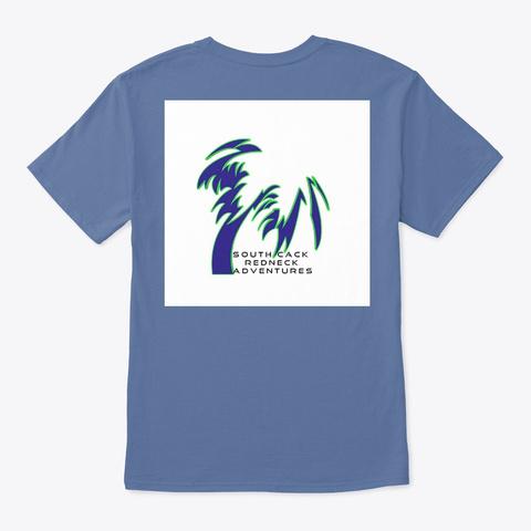 South Cack Redneck Palm Blue And Green Denim Blue T-Shirt Back