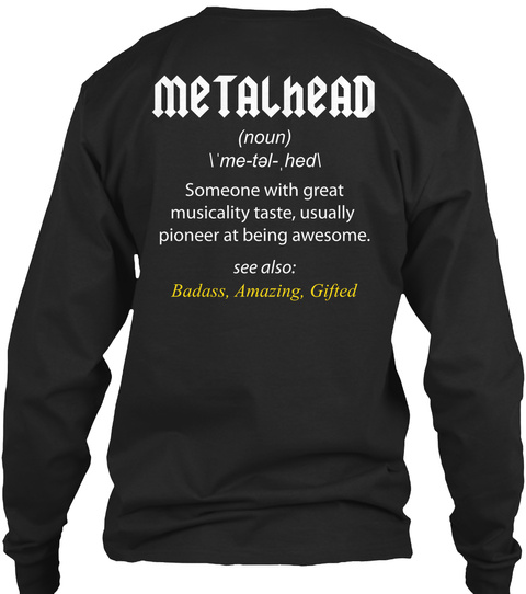 Metal Head Black T-Shirt Back