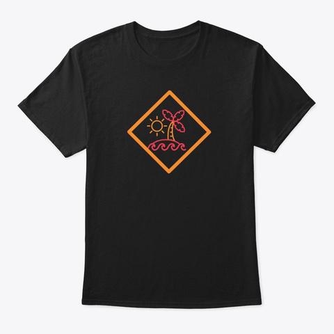 Palm Tree Sea Beach  Black T-Shirt Front