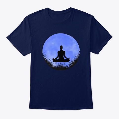 Moon Meditation Yoga T Shirt Navy T-Shirt Front
