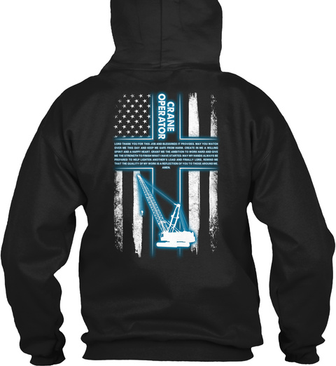 Crane Operator Black T-Shirt Back
