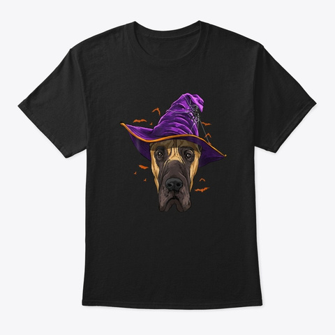 Funny Great Dane Dog Witch Halloween Black T-Shirt Front