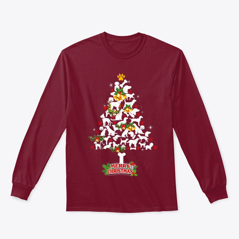 Christmas Costume Dog Tree Cute Gift Cardinal Red T-Shirt Front