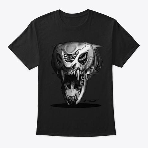 Mechanical Tiger Skull Black T-Shirt Front