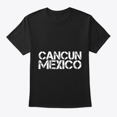 Cancun Mexico Beach Palm Tree Party Dest Black T-Shirt Front