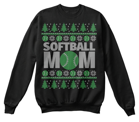Softball Mom Black T-Shirt Front