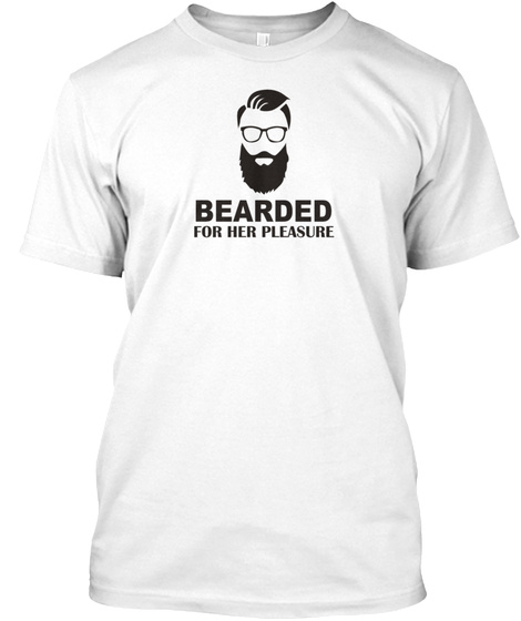 Bearded Funny Hipster White T-Shirt Front