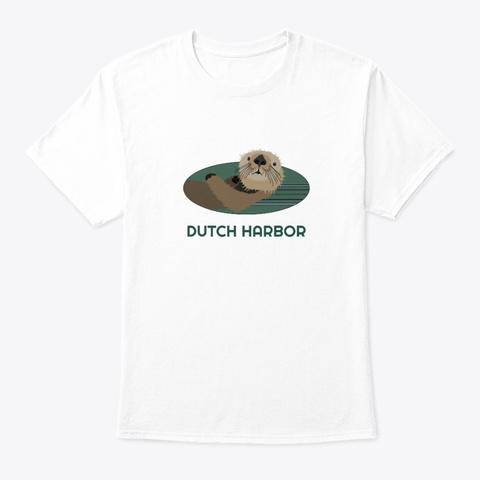 Dutch Harbor Ak Otter Pnw Tribal White T-Shirt Front