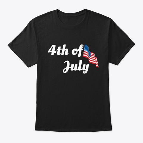 4th Of July American Flag Patriotic Usa Black T-Shirt Front