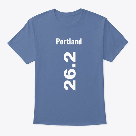 Marathoner 26.2 Portland Denim Blue T-Shirt Front