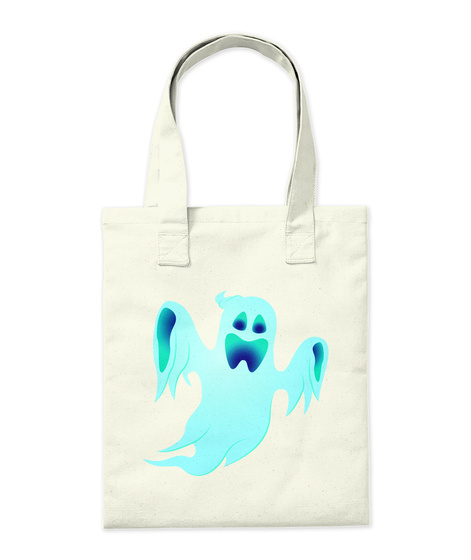 Halloween Ghost Tote Bag Natural T-Shirt Back