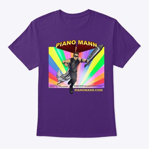"""Piano Mann"" Superhero Purple T-Shirt Front"