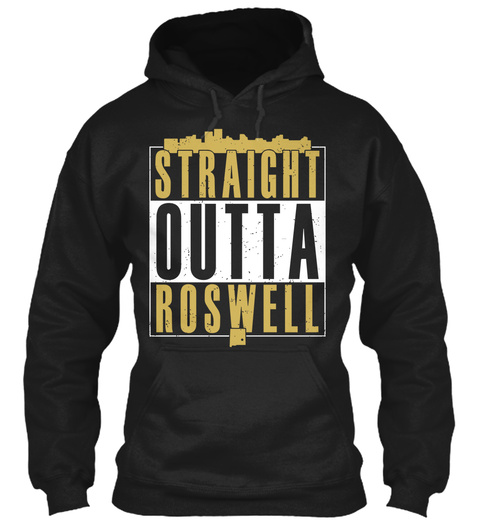 Straight Outta Roswell Black T-Shirt Front