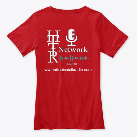 Real World News Tv Ladies V Neck T Red T-Shirt Back
