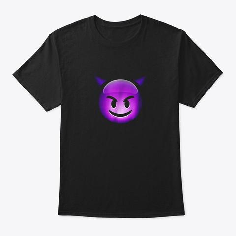 Cute Smiling Purple Devil Emoji Shirt Black T-Shirt Front