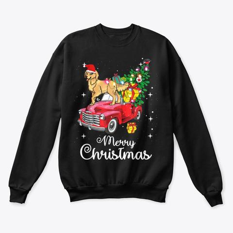 Golden Retriever Christmas Sweater Shirt Black T-Shirt Front