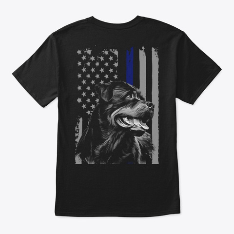 Rottweiler   Flag   Back Printed Black T-Shirt Back