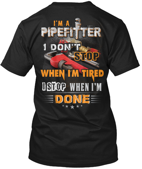 Awesome Pipefitter Black T-Shirt Back