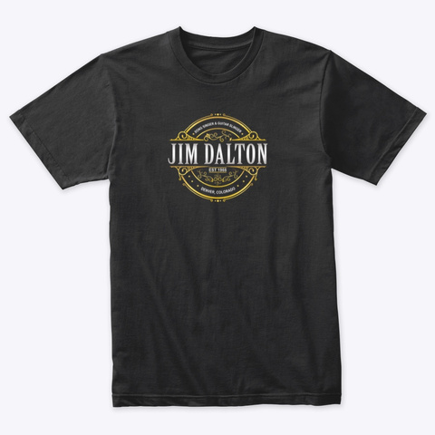 White And Gold Circle Design Logo Vintage Black T-Shirt Front