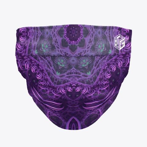 Mascarilla Psicodélica Fractales Púrpura Black T-Shirt Front