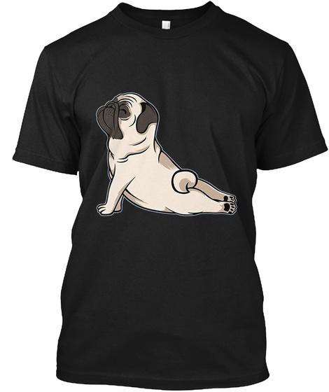 Pug Yoga Shirt Black T-Shirt Front