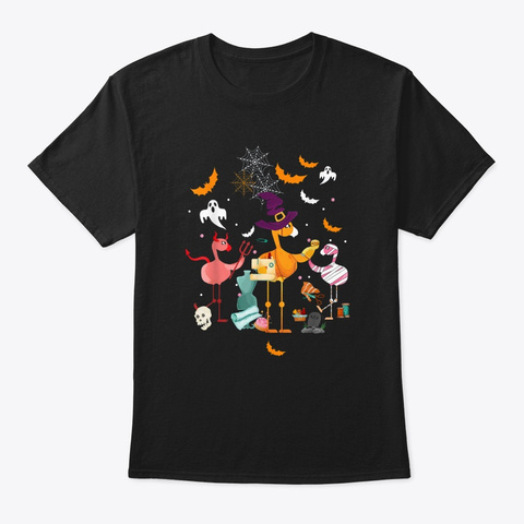 Flamingo Quilting Halloween Costume Black T-Shirt Front