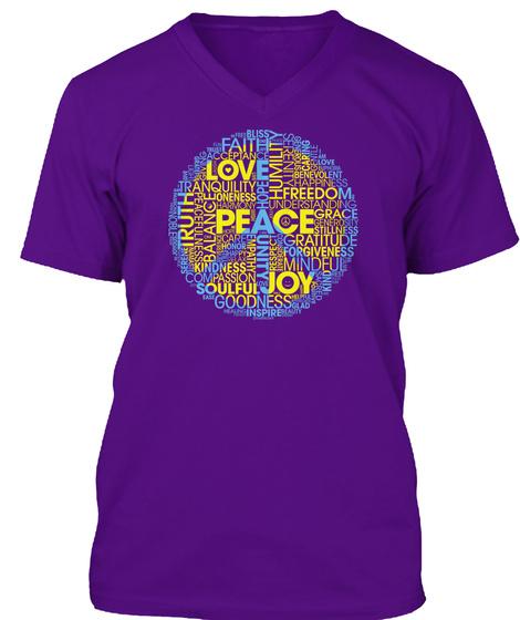 Peace Words: Peace Sign Word Cloud   Men Team Purple T-Shirt Front