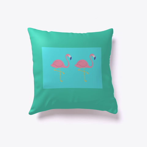 Paradise Pillow Collection   Flamingos Aqua T-Shirt Front