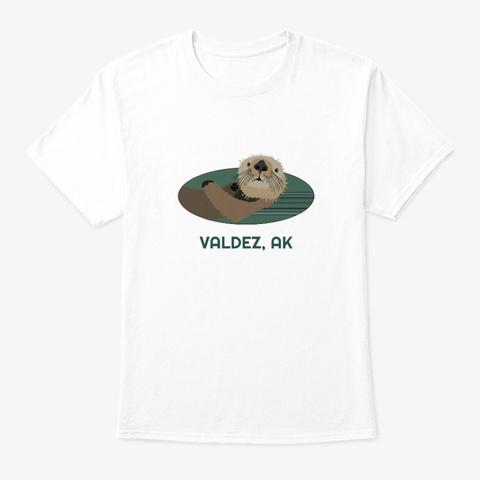 Valdez Ak Otter Pnw Native American White T-Shirt Front