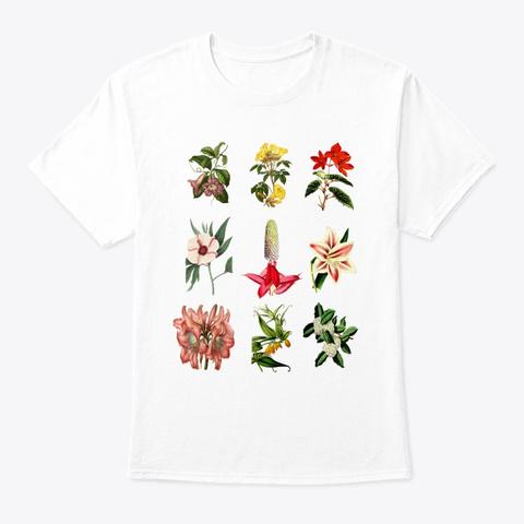 Vintage Botanical Flower Plant White T-Shirt Front