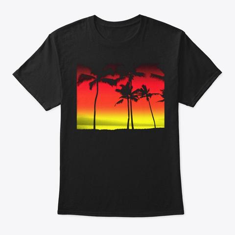 Tropical Palms Black T-Shirt Front