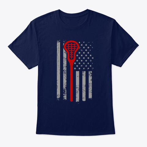 Vintage American Flag Lacrosse Navy T-Shirt Front