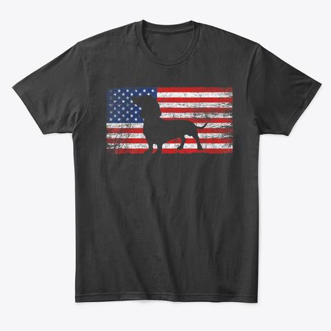 American Flag Dachshund Dog Lover Gift Black T-Shirt Front