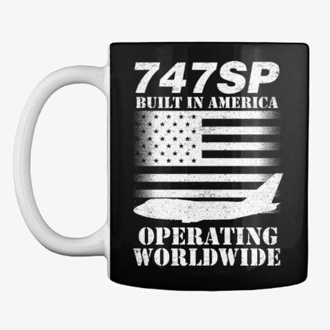 747 Sp   Built In America Black T-Shirt Front