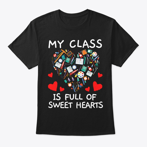 Sweet Hearts Gift For Paraprofessional Black T-Shirt Front