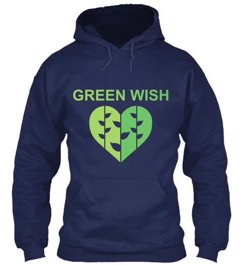 Green Wish Navy T-Shirt Front