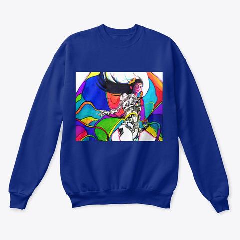 """Oversaturation""   Sweater Deep Royal  T-Shirt Front"