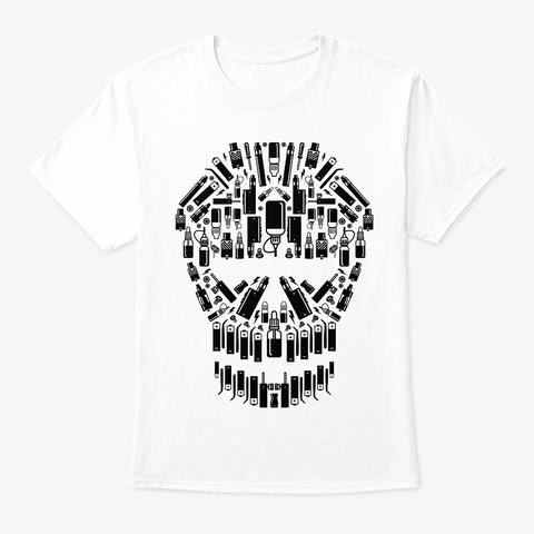 Skull Vape Accessoires   Vaper Vaping White T-Shirt Front