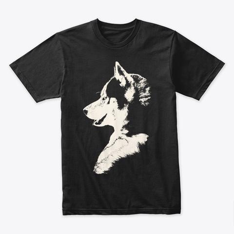 Husky Puppy Shirts Black T-Shirt Front