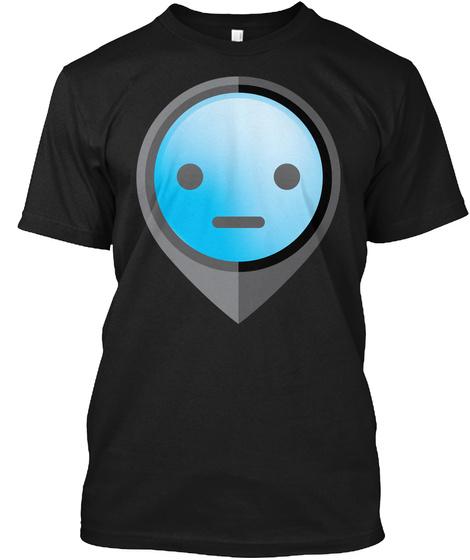 Pointer Emoji Straight Face Black T-Shirt Front